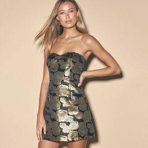 NWT Lulu's Great Night Jacquard Strapless Dress